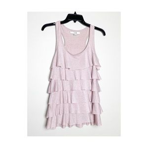 Forever 21 Pink Sparkle Ruffle Tiered Tank Top